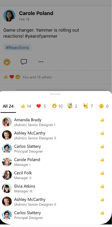 Screenshot showing who has reacted to a conversation in Yammer mobile