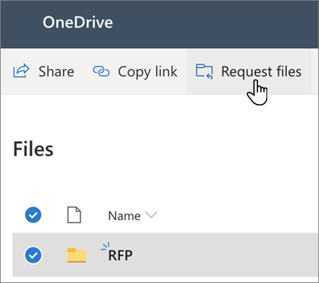 The Request Files menu option in OneDrive for Business