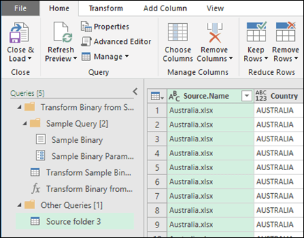 Combine Binaries Preview dialog. Press Close & Load to accept the results and import them to Excel.
