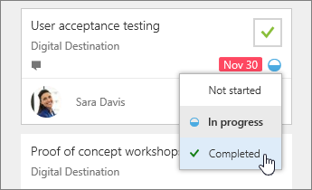Choose progress on a task