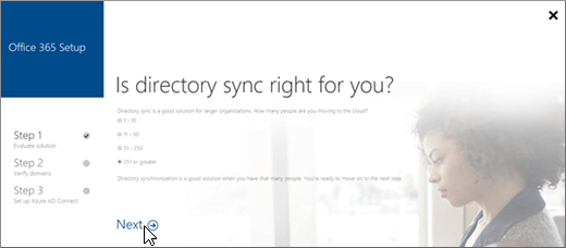 Choose NExt to continue setting up directory synchronization