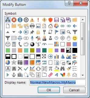 Button options in the Modify Button box
