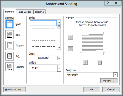 Borders and Shading box