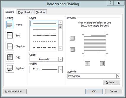 Borders and Shading box