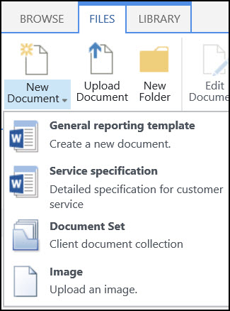 New Document menu with customized content types in a SharePoint