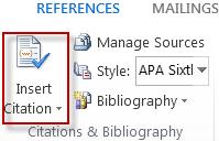 The Insert Citation button in Word 2013.