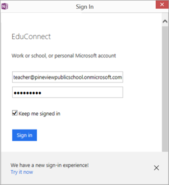 Dialogue box showing where to enter your school email and password. Button to Sign in using EDUConnect.