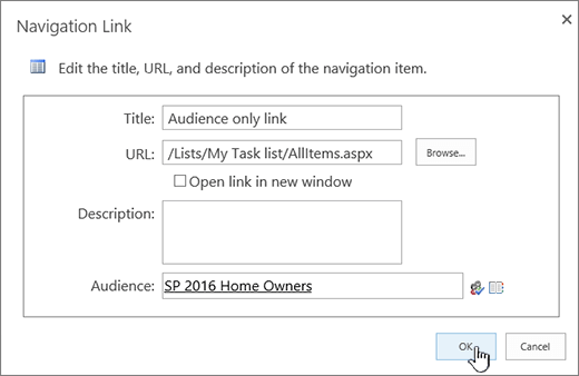 Navigation link properties with OK highlighted.
