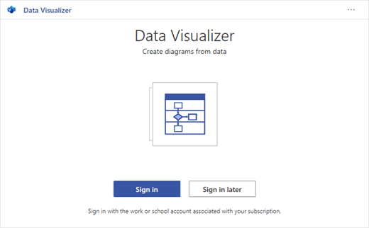 Iniciar sesión en Office 365 para usar Microsoft Visio Data Visualizer.