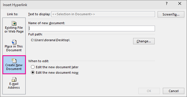 dialog box where you can link to a new document