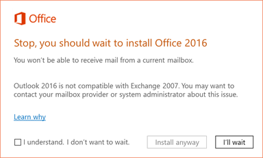 Error: Stop, you should wait to install Office 2016