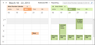 imported google calendar side-yb-side in outlook
