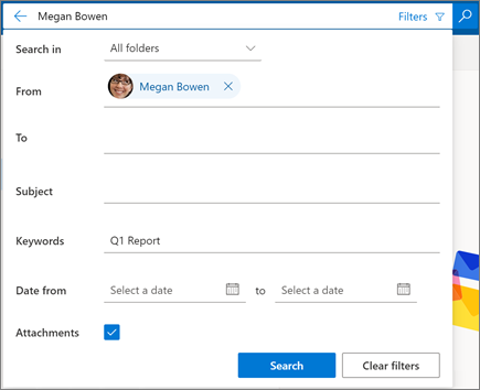 Search filters in Outlook on the web