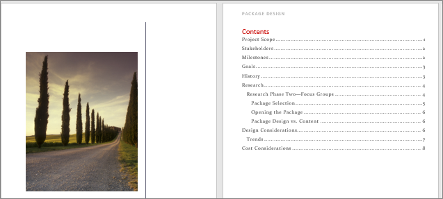 A cover page and a Table of Contents