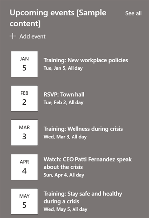 The events web part with event listings and dates.
