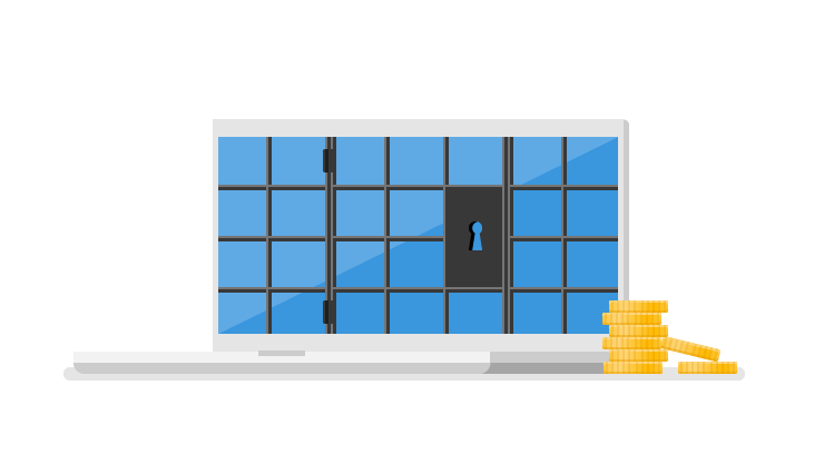 A cartoon of a laptop with a lock on the screen and a stack of coins next to it.