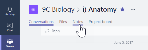 Class Notebook in Microsoft teams to collaborate