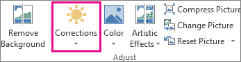 Corrections button on the Picture Tools tab