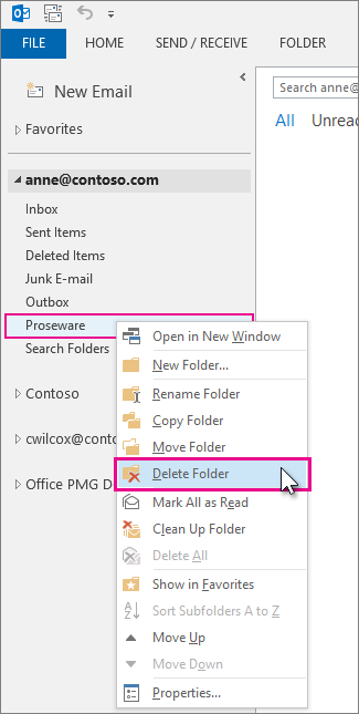 deleting a folder from the folder pane
