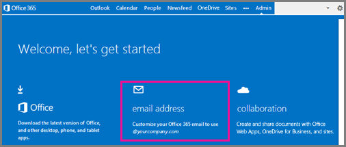 Welcome page, showing the email address tile