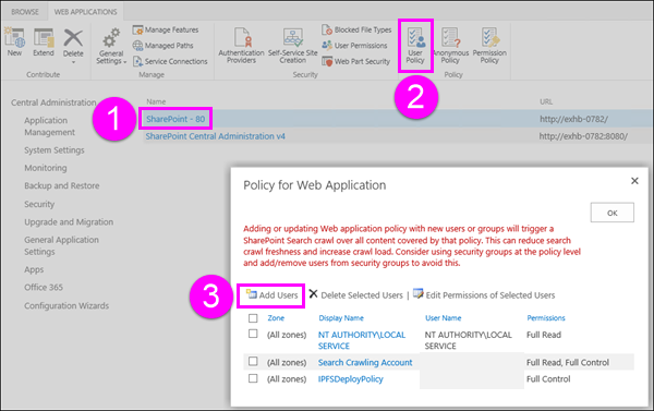 Policy for Web Application dialog