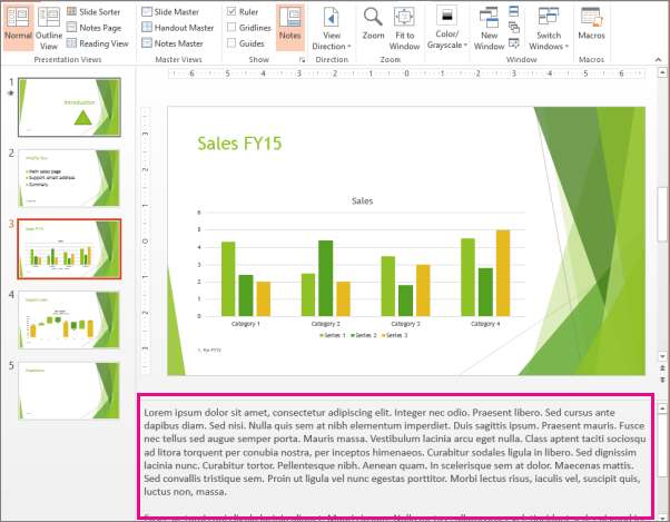 show text formatting in the notes pane powerpoint