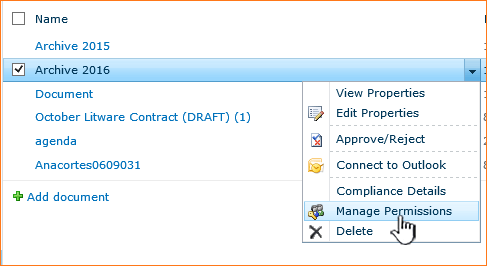 Manage Permissions selection on dropdown