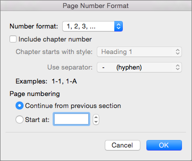 Select the format for the page numbers