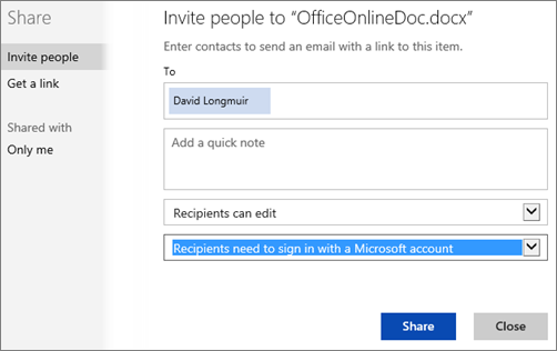 "Screenshot of Share dialog box showing the ""Recipients need to sign in with a Microsoft account"" option"
