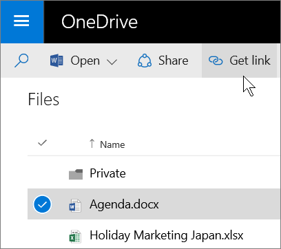 Screenshot of sharing a file by using the Get Link button in OneDrive for Business
