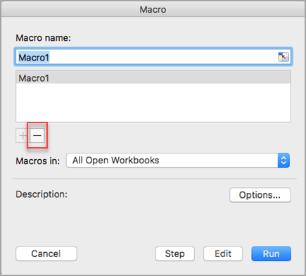 Select macro name and then select minus sign