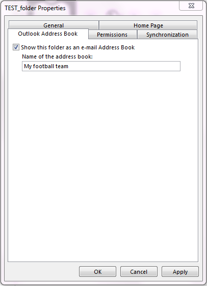 "Ensure that the check box for ""Show this folder as an e-mail Address Book"" is selected."