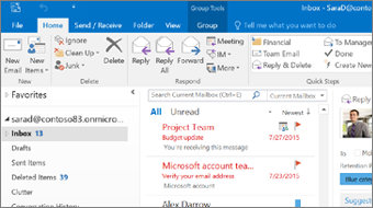 Outlook 2016 Getting Started training