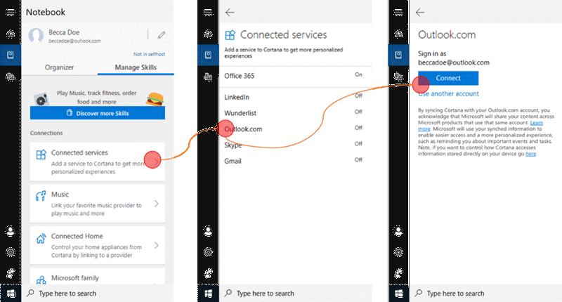 Screenshot with Cortana open on Windows 10 and the Connected services menu open.