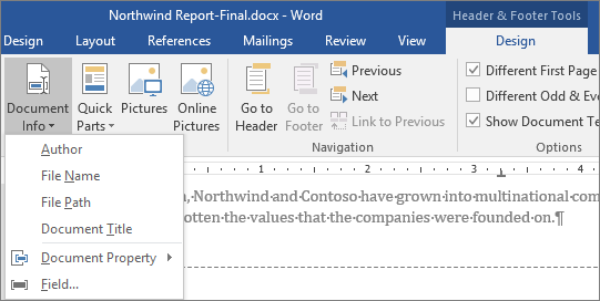 Insert The File Name In A Footer Word