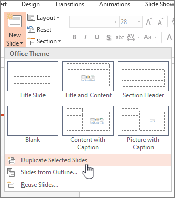 New slide menu with duplicate slide selected