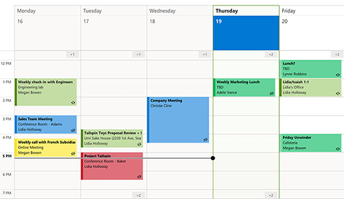 Image of work week in calendar.