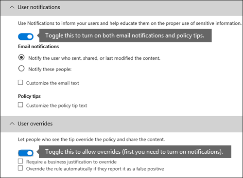 User notifications and user overrides sections of DLP rule editor