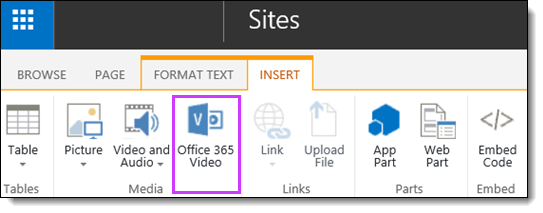 Office 365 Video Embed a Video