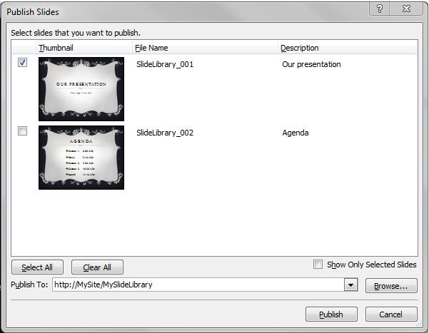 Publish Slides dialog box