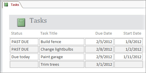 Tasks report with a Status column that uses the IIF function to display a message.