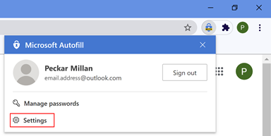 Desktop Chrome browser Autofill Extension settings location