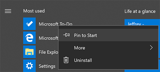 Screenshot showing the option to Pin to Start selected for Microsoft To-Do in the Start menu