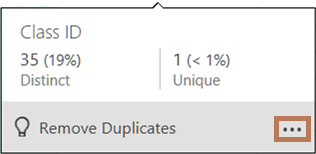 The distribution chart pop-up