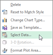Clicking Select Data on the chart right-click menu