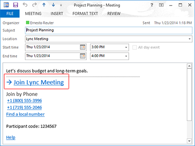 "Lync meeting request with ""Join Lync Meeting"" highlighted"