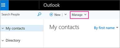 An image of what the People page looks like in Outlook on the web