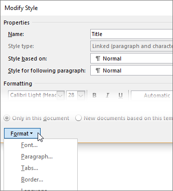 Format button is at the bottom of the Modify Style dialog box