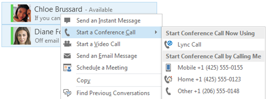 Screenshot of starting a conference call