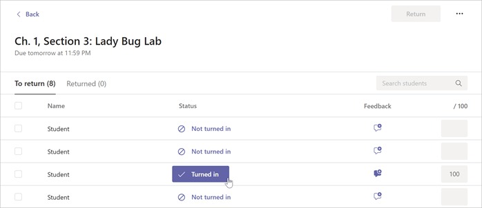 Cursor is hovering over the Turned in button inside of a selected Assignment in Microsoft Teams.
